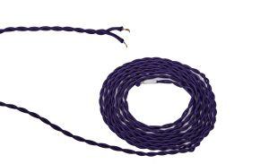Cavo 1m Purple Braided Twisted 2 Core 0.75mm Cable VDE Approved (qty ordered will be supplied as one continuous length)