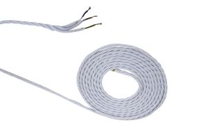 Cavo 1m White Braided Twisted 3 Core 0.75mm Cable VDE Approved (qty ordered will be supplied as one continuous length)