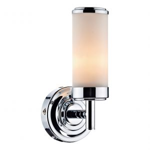 DAR CEN0750 Century Single Bathroom Wall Light Polished Chrome/Opal Glass Finish Switched