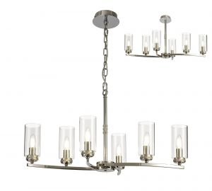 Cindy Rectangular Pendant/Semi Ceiling, 6 x E14, Polished Nickel