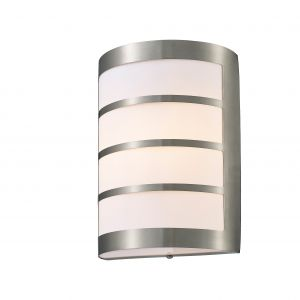 Deco D0076 Clayton Flush Wall Lamp 1 Light E27 IP44 Exterior Louvre Design Stainless Steel/Opal