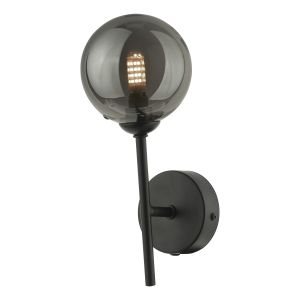 Cohen 1 Light Wall Light Matt Black With Smoked Glass