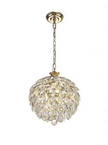 Diyas IL32803 Coniston Pendant, 3 Light E14, French Gold/Crystal