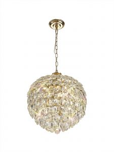 Diyas IL32804 Coniston Pendant, 6 Light E14, French Gold/Crystal
