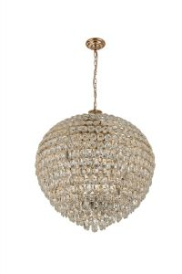 Diyas IL32811 Coniston Pendant, 18 Light E14, French Gold/Crystal