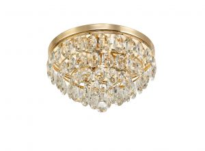 Diyas IL32816 Coniston Flush Ceiling, 3 Light E14, French Gold/Crystal