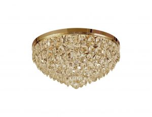 Diyas IL32817 Coniston Flush Ceiling, 6 Light E14, French Gold/Crystal