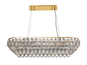 Diyas IL32821 Coniston Rectangular Pendant, 8 Light E14, French Gold/Crystal