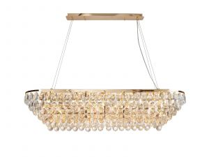 Coniston Linear Pendant, 14 Light E14, French Gold/Crystal Item Weight: 27.1kg