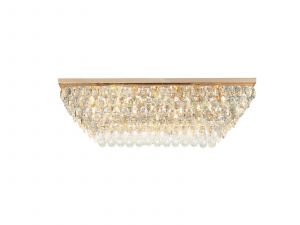 Coniston Linear Flush Ceiling, 11 Light E14, French Gold/Crystal Item Weight: 21.8kg