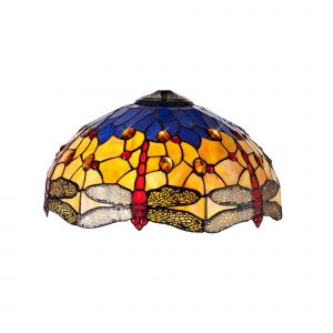 Nu Crown Tiffany 40cm Shade Only Suitable For Pendant/Ceiling/Table Lamp, Blue/Orange/Crystal