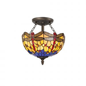 Nu Crown Tiffany 30cm Shade, Blue/Orange/Crystal c/w Semi Ceiling Kit, 2 x E27, Aged Antique Brass