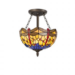 Nu Crown Tiffany 30cm Shade, Blue/Orange/Crystal c/w Semi Ceiling Kit, 3 x E27, Aged Antique Brass
