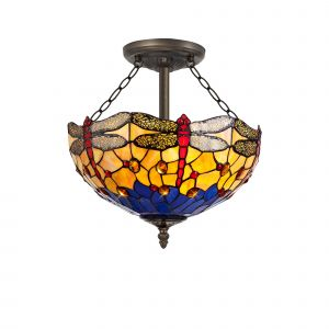 Nu Crown Tiffany 40cm Shade, Blue/Orange/Crystal c/w Semi Ceiling Kit, 3 x E27, Aged Antique Brass