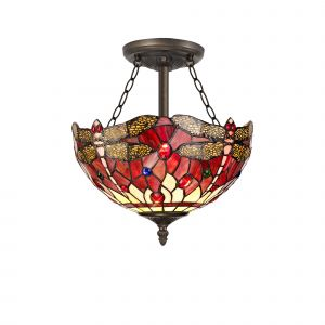 Nu Crown Tiffany 30cm Shade, Purple/Pink/Crystal c/w Semi Ceiling Kit, 3 x E27, Aged Antique Brass