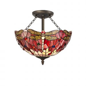 Nu Crown Tiffany 40cm Shade, Purple/Pink/Crystal c/w Semi Ceiling Kit, 3 x E27, Aged Antique Brass