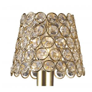 Diyas ILS10702 Clip On Crystal Ring Shade French Gold