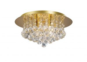 Deco D0004 Dahlia Flush Ceiling, 350mm  Round, 4 Light G9 Crystal French Gold