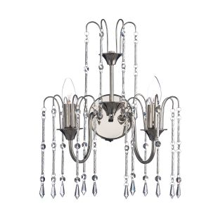 DAR DAN0938 Daniella Double Wall Light Nickel/Crystal Finish Switched