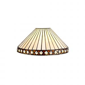 Nu Tiffon Tiffany 30cm Non-electric Shade Suitable For Pendant/Ceiling/Table Lamp, Amber/CCrain/Crystal