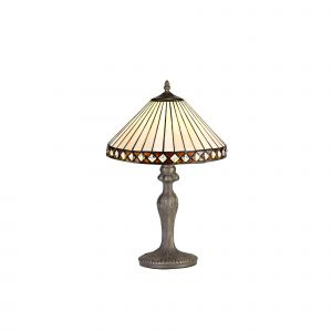 Dareham Tiffany 30cm Shade, Amber/Cream/Crystal c/w 47.5cm Curved Table Lamp, 1 x E27, Aged Antique Brass