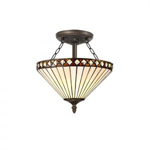 Dareham Tiffany 30cm Shade, Amber/Cream/Crystal c/w Semi Ceiling Kit, 2 x E27, Aged Antique Brass