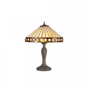Dareham Tiffany 40cm Shade, Amber/Cream/Crystal c/w 56cm Curved Table Lamp, 2 x E27, Aged Antique Brass