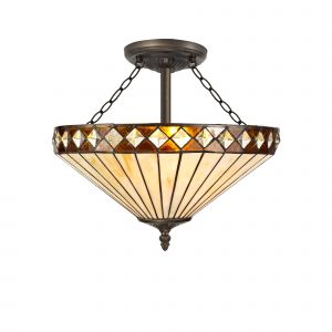 Dareham Tiffany 40cm Shade, Amber/Cream/Crystal c/w Semi Ceiling Kit, 3 x E27, Aged Antique Brass