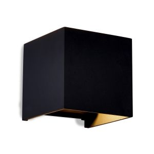 Davos Square Wall Lamp, 12W LED, 3000K, 1100lm, IP54, Sand Black, 3yrs Warranty