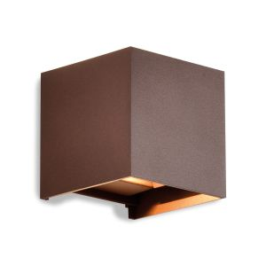 Davos Square Wall Lamp, 12W LED, 3000K, 1100lm, IP54, Corten, 3yrs Warranty