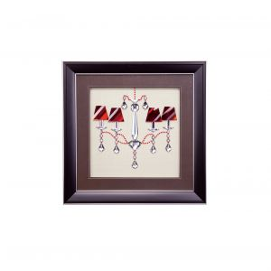 Diyas Home IL70514 (DH) Decor Chandelier With Red Shades,  Black Frame, Red, Clear Crystal