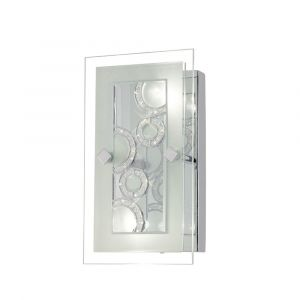 Diyas IL30980 Destello Wall Lamp/Ceiling Rectangle With Circle Pattern 2 Light Polished Chrome/Crystal
