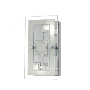 Diyas IL30981 Destello Wall Lamp/Ceiling Rectangle With Square Pattern 2 Light Polished Chrome/Crystal