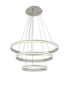 Nu Detroit Pendant, 3 Light 50W,30W,20W LED, 4000K, 5470lm, Dimmable, Matt White, 3yrs Warranty