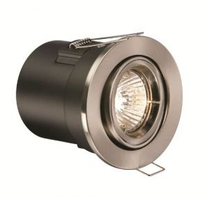 Saxby DLF302SS Shield Single 1x50W 12V Recessed Fire Rated Adjustable Downlight Stainless Steel Finish