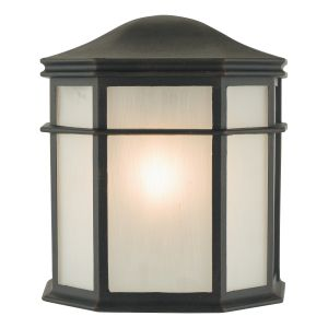 DAR DUL2122 Dulbecco Single Outdoor Wall Light Black/Opal Glass Finish
