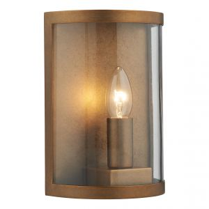 DAR DUS2142 Dusk Single Outdoor Wall Light Brass/Clear Glass Finish