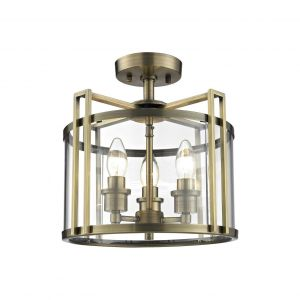 Diyas IL31090 Eaton Semi Ceiling 3 Light Antique Brass/Glass