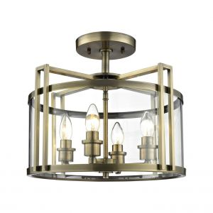 Diyas IL31091 Eaton Semi Ceiling 4 Light Antique Brass/Glass