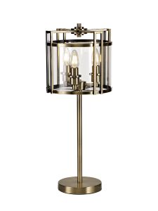 Diyas IL31097 Eaton Table Lamp 3 Light E14 Antique Brass/Glass