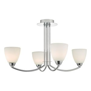 Dar EDA0450 Edanna 4lt Semi Flush Polished Chrome/Opal Glass Bathroom Finish