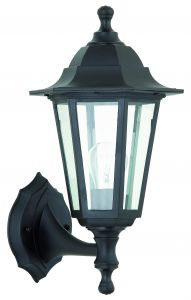 Bayswater Single Outdoor Wall Light Black Polypropylene/Clear Glass Finish