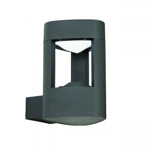 Tribeca Single LED Outdoor Wall Light Dark Grey/Frosted Acrylic Finish