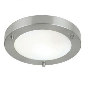 Endon EL-440-18BS-9W Ip44 Energy Flush Fitting Brushed Steel Inc 9W Lamp 1 Light In Nickel