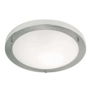 Endon EL-440-30BS-2D Ip44 Flush Fitting 16W Brushed Steel Inc 2D Lamp 1 Light In Nickel