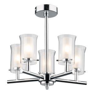DAR ELB0550 Elba 5 Light Bathroom Semi Flush Polished Chrome/Clear Glass Finish