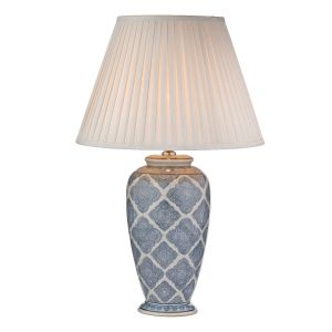DAR ELY4223 Ely Single Table Lamp (Base Only) Blue Finish