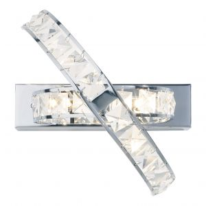 DAR ETE3050 Eternity 3 Light Wall Light Crystal/Polished Chrome Finish