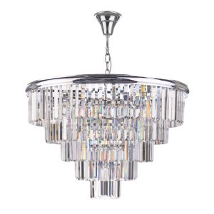 Eulalia 12 Light E14 Polished Chrome Adjustable Crystal Chandelier