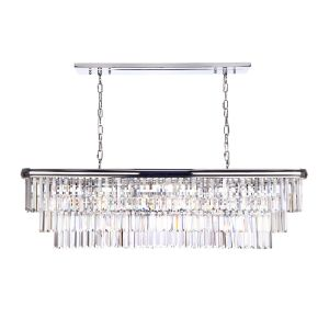 Eulalia 10 Light E14 Polished Chrome Adjustable Linear Crystal Chandelier